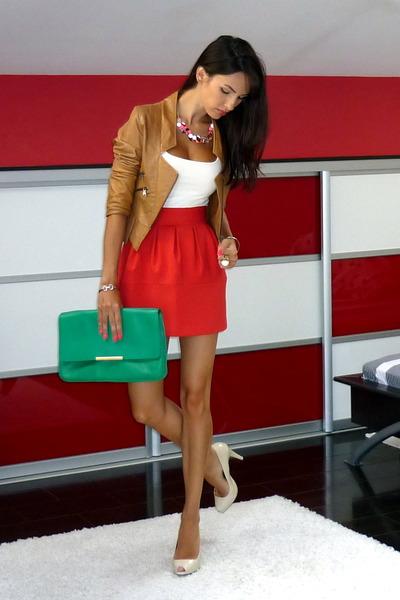 red Zara skirt - tawny BSB jacket