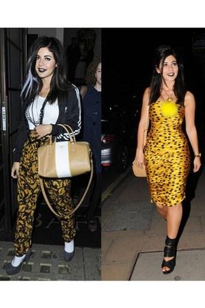 super hot heels - golden leoprint dress - high school jacket - big bag - pants
