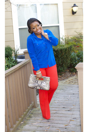 blue JCrew blouse - carrot orange ann taylor pants - nude Steve Madden heels