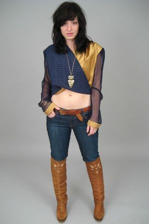 brown vintage zodiac boots - blue Forever 21 jeans - blue jeanne marc top