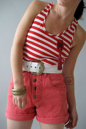 pink Naked Vintage shorts - white Naked Vintage belt - red Nordstrom top - purpl