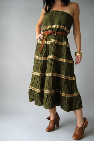 green Naked Vintage dress - brown Jeffrey Campbell shoes - brown thrifted belt -