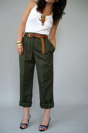 green Naked Vintage pants - brown unknown brand belt - white unknown brand top -