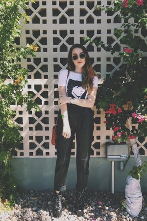 white thrifted t-shirt - black leather thrifted vintage pants