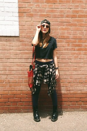 black Dr Martens boots - beaded Staring at Stars hat - grey cropped UO top