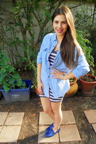 chambray Guess shirt - blue H&M shoes - heather gray striped delias dress