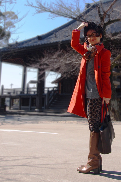 carrot orange from japan coat - bronze boots - camel scarf