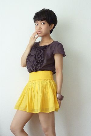 yellow H&M skirt - brown ANAYI from Japan top - brown bracelet