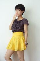 yellow H&M skirt - brown ANAYI from Japan top - brown bracelet