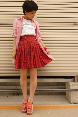 red from japan skirt - pink shoes - striped shirt