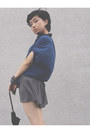 Heather-gray-topshop-shorts-navy-blouse-black-diana-heels