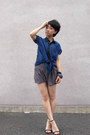 Heather-gray-topshop-shorts-navy-blouse-black-diana-heels