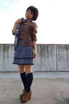 untitle blazer - blue skirt - blue socks - blue scarf - brown esperanza from jap