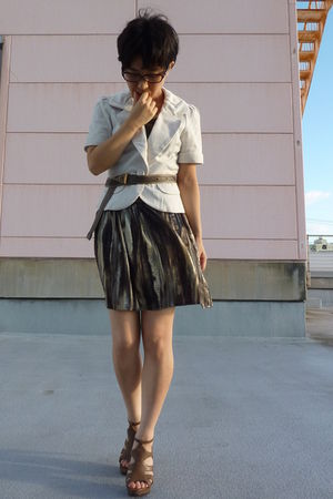white blazer - ICB belt - H&M skirt - Nine West shoes