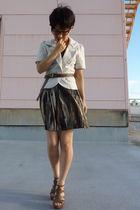 white blazer - ICB belt - H&M skirt - Nine West shoes