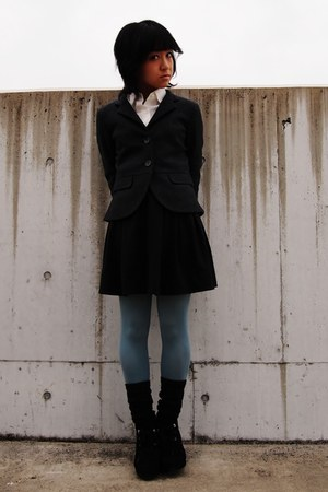 sky blue tights - black shoes - gray blazer - ivory shirt - black skirt