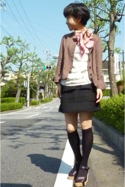 DKNY scarf - white t-shirt - black skirt - black socks - jacket