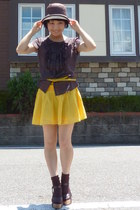 dark brown straw hat - brown socks - yellow JCrew belt - yellow H&M skirt - brow