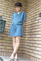 blue Uniqlo dress - brown shoes - brown glasses