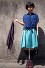 Black-sequined-bag-purple-knee-high-socks-turquoise-blue-pleated-skirt