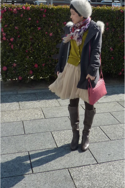gray coat - gray boots - floral scarf - bubble gum bag