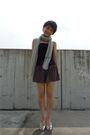 Black-uniqlo-top-gray-topshop-silver-scarf-silver-nine-west-shoes