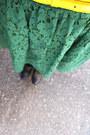 Forest-green-lace-zara-dress-dark-gray-topshop-cardigan-yellow-jcrew-belt