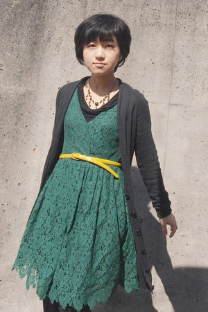 forest green lace Zara dress - dark gray Topshop cardigan - yellow JCrew belt