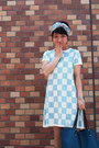 Sky-blue-hermes-scarf-light-blue-checkered-asos-dress-teal-tiffany-co-bag