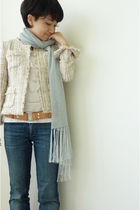 jacket - silver scarf - belt - blue jeans