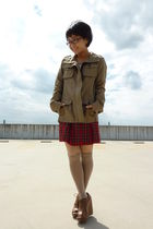 beige Uniqlo coat - red skirt - - brown shoes