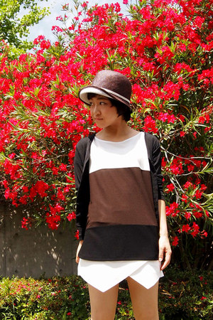 white skort Zara shorts - brown hat - black cardigan - dark brown ICB top