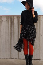 black Uniqlo blazer - black Nine West boots - carrot orange Tabio tights