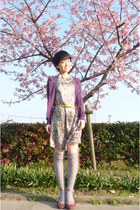 amethyst ANAYI cardigan - magenta shoes - paisley dress - silver knee high socks