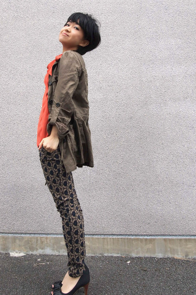olive green Zara jacket - carrot orange from japan top