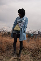 sky blue coat - heather gray ankle boots - light yellow sweater