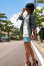 Sky-blue-blazer-sky-blue-h-m-shorts-white-lace-top-brown-heels