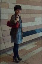 red kate spade purse - Zara jacket - Nine West shoes - blue dress - blue tights