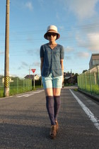 eggshell Nolleys hat - sky blue H&M shorts - navy socks - from japan wedges - tu