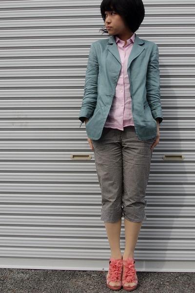 light pink hemp shirt - light blue hemp blazer - dark gray gingham pants