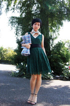 forest green lace Zara dress - green handkerchief Celine scarf