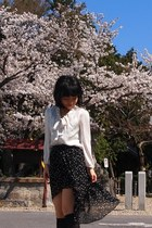 black Zara skirt - ivory from japan blouse