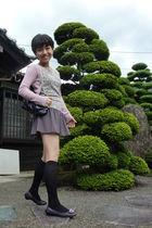 gray Topshop skirt - pink cardigan - top - gray shoes
