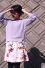 Light-purple-sweater-ivory-floral-print-skirt