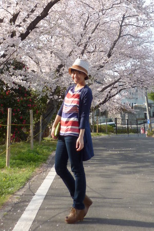 red striped Zara top - jeans - white from japan hat - navy Topshop cardigan