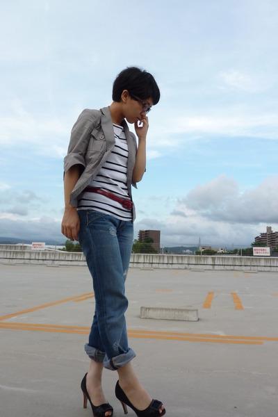 gray jacket - top - red belt - Diesel jeans - shoes