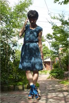 blue dress - blue socks - shoes
