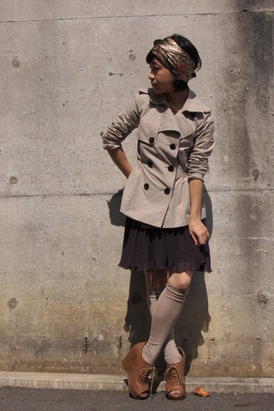 brown scarf - beige trench Gap coat - beige knee high socks - brown skirt