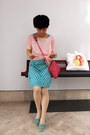 Turquoise-blue-polka-dots-from-japan-dress-light-pink-theory-sweater