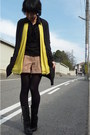 Black-topshop-cardigan-black-nine-west-boots-black-blouse-yellow-vest-ca
